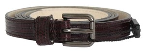 Dolce&Gabbana D10367-3 Women's Bordeaux Leather Silver Buckle Belt(85 cm /34 Inches)