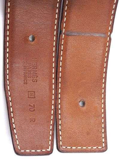 Hermès 32Mm classic silver H Reversible leather Belt Size 70 Image 9