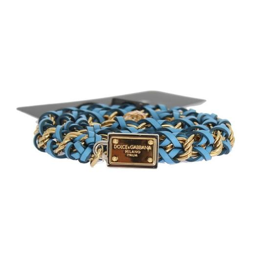 Dolce&Gabbana D10362-3 Women's Blue Leather Crystal Gold Belt (Small) Image 4