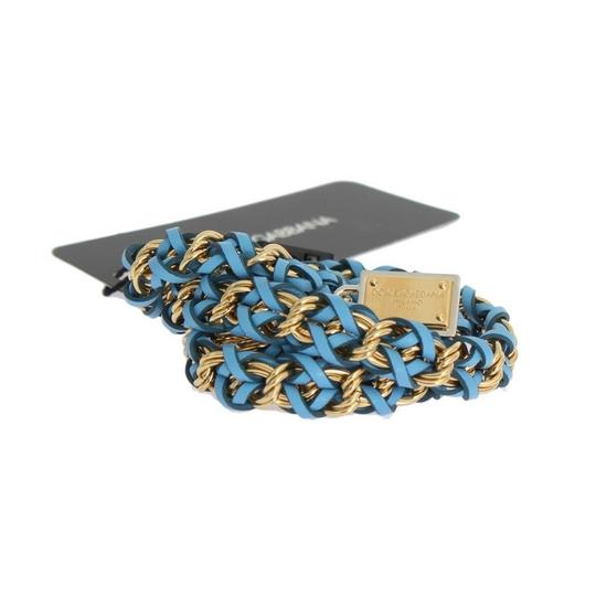 Dolce&Gabbana D10362-3 Women's Blue Leather Crystal Gold Belt (Small) Image 5