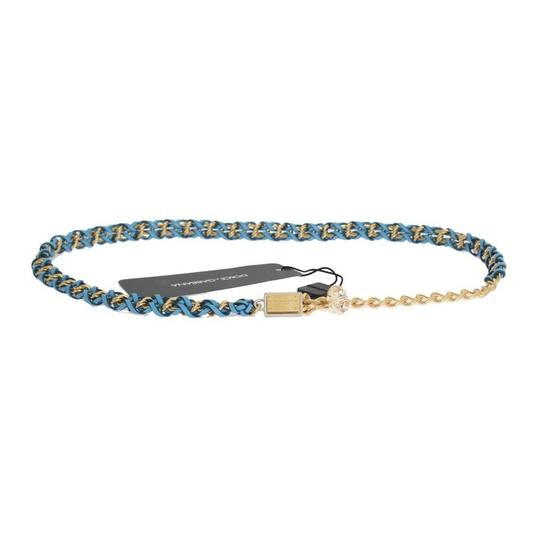 Dolce&Gabbana D10362-3 Women's Blue Leather Crystal Gold Belt (Small) Image 6