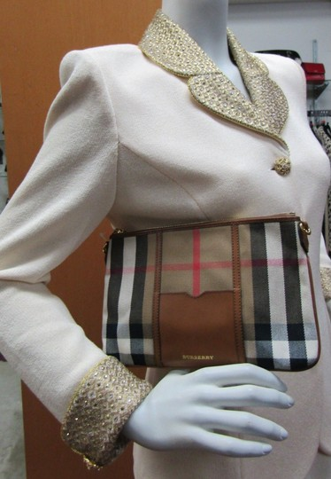 Burberry Nova Check Wallet Wallet Leather Brown Multi Clutch Image 5