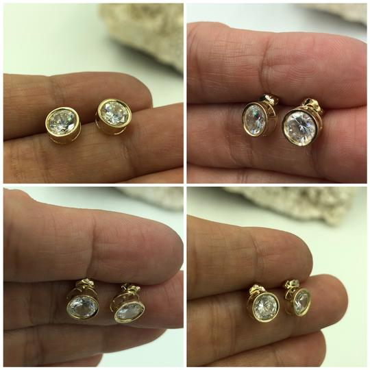 14KT Gold 14KT Yellow Gold Round CZ Stud Earrings Image 2