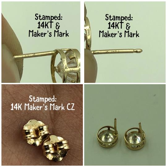 14KT Gold 14KT Yellow Gold Round CZ Stud Earrings Image 4