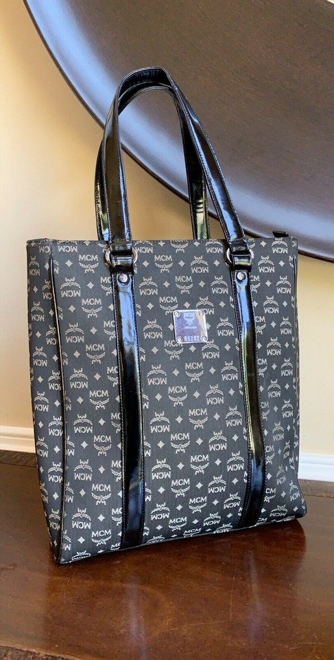 8ecca9cecd28 MCM Bag Vintage Tall Large Black Canvas Patent Leather Tote
