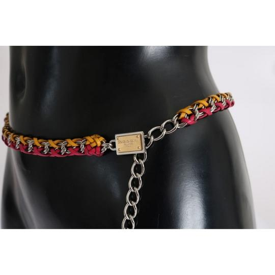 Dolce&Gabbana D10361-3 Women's Red Yellow Leather Crystal Belt (Small) Image 3
