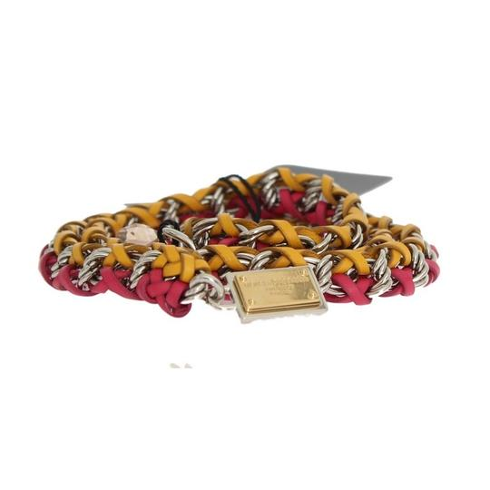 Dolce&Gabbana D10361-3 Women's Red Yellow Leather Crystal Belt (Small) Image 5