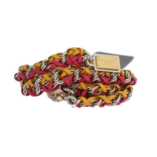 Dolce&Gabbana D10361-3 Women's Red Yellow Leather Crystal Belt (Small) Image 6