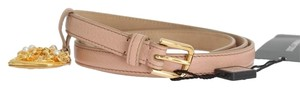 Dolce&Gabbana D10359-2 Women's Beige Leather Mamma Gold Heart Belt(90 cm /36 Inches)
