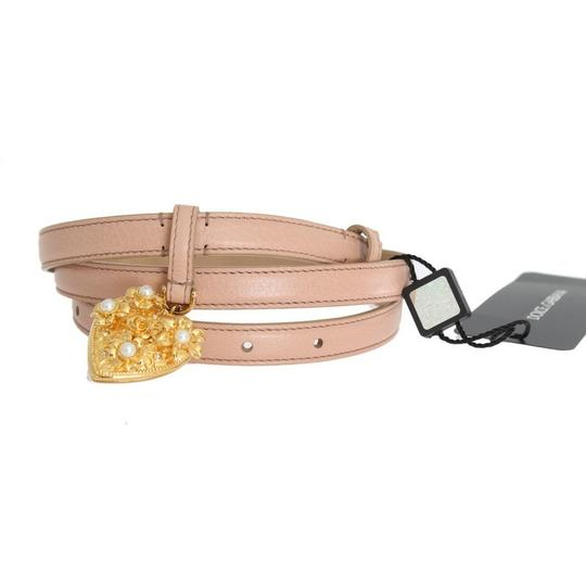 Dolce&Gabbana D10359-2 Women's Beige Leather Mamma Gold Heart Belt(90 cm /36 Inches) Image 1