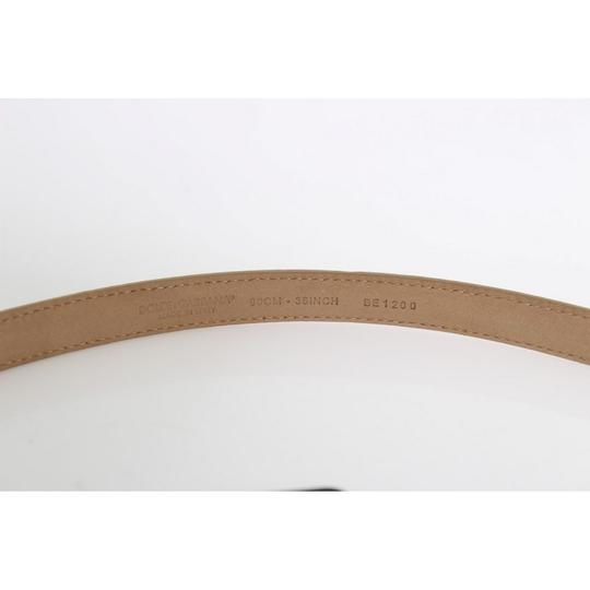 Dolce&Gabbana D10359-2 Women's Beige Leather Mamma Gold Heart Belt(90 cm /36 Inches) Image 3