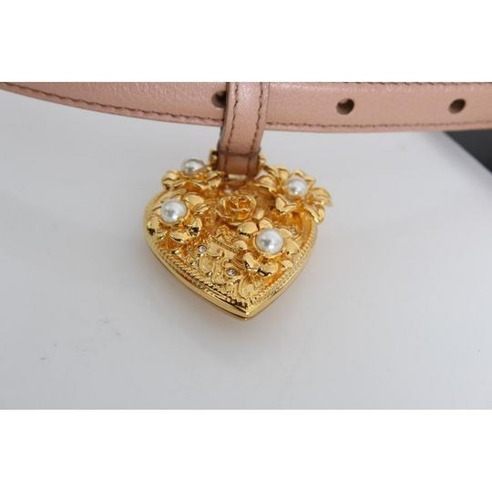Dolce&Gabbana D10359-2 Women's Beige Leather Mamma Gold Heart Belt(90 cm /36 Inches) Image 4