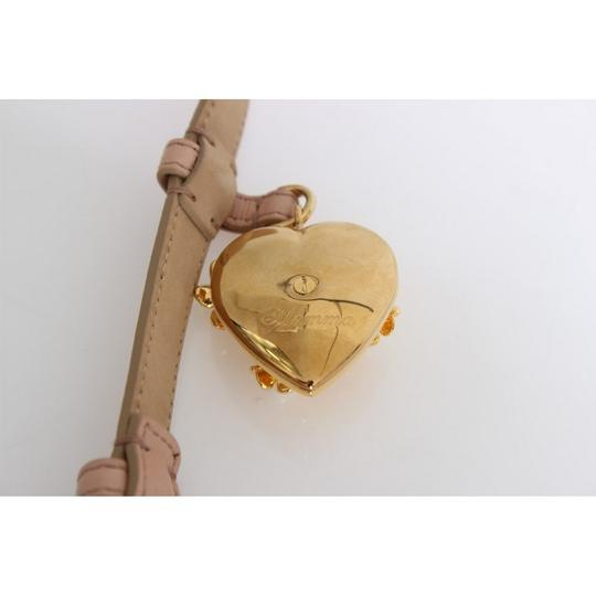 Dolce&Gabbana D10359-2 Women's Beige Leather Mamma Gold Heart Belt(90 cm /36 Inches) Image 5
