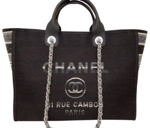 06afb943cdb3 Chanel Deauville Large Black Canvas Tote - Tradesy