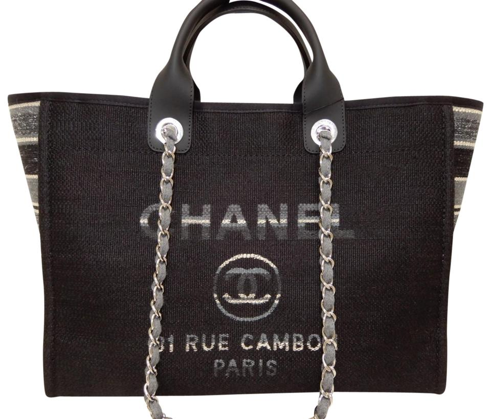 d9c86b8b458 Chanel Deauville Large Black Canvas Tote - Tradesy