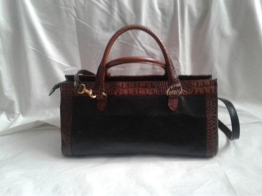 Brahmin Embossed Crocodile Leather Tuscan Brass Hardware Large Convertible Satchel in Black, brown Image 1