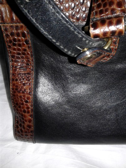 Brahmin Embossed Crocodile Leather Tuscan Brass Hardware Large Convertible Satchel in Black, brown Image 11