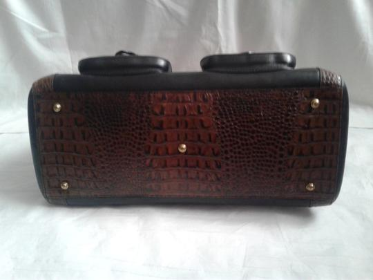 Brahmin Embossed Crocodile Leather Tuscan Brass Hardware Large Convertible Satchel in Black, brown Image 4