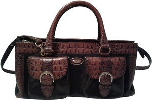 Brahmin Embossed Crocodile Leather Tuscan Brass Hardware Large Convertible Satchel in Black, brown