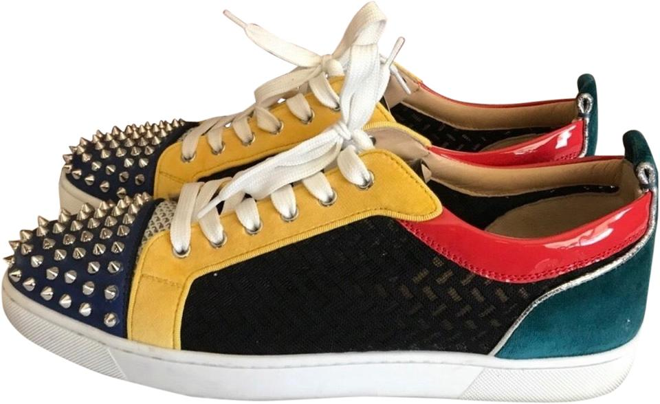 944a250f4d Christian Louboutin Red Green Black Yellow Cl Men's Spikes Sneakers ...