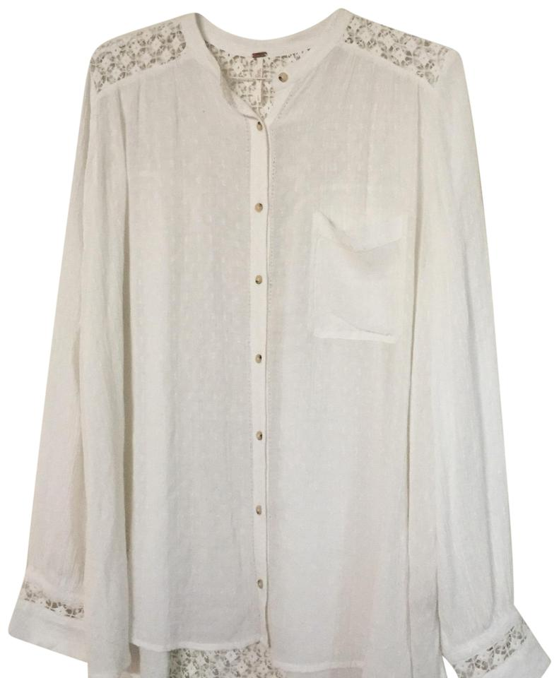 8542a2809371c7 Free People White The Best Lace Panel Tunic Hi Lo Oversized Blouse Button-down  Top