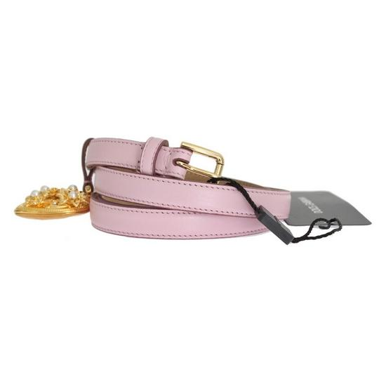Dolce&Gabbana D10341-2 Women's Pink Leather Gold Heart Mamma Belt(80 cm / 32 Inches) Image 1