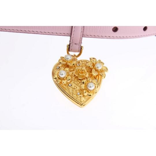 Dolce&Gabbana D10341-2 Women's Pink Leather Gold Heart Mamma Belt(80 cm / 32 Inches) Image 4