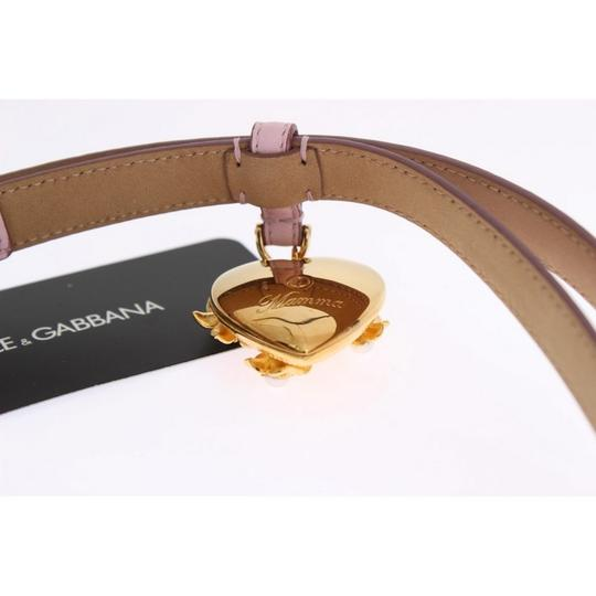 Dolce&Gabbana D10341-2 Women's Pink Leather Gold Heart Mamma Belt(80 cm / 32 Inches) Image 5