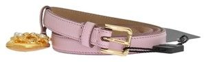 Dolce&Gabbana D10341-3 Women's Pink Leather Gold Heart Mamma Belt(85 cm / 34 Inches)