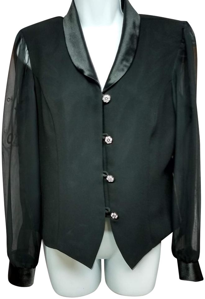 Another Thyme Black Satin Lapels Sheer Sleeves Top Blouse Blazer Size 12 (L)