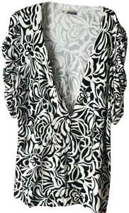 INC International Concepts One Button Close Abstract Flower Banned Waist Ruching Cardigan
