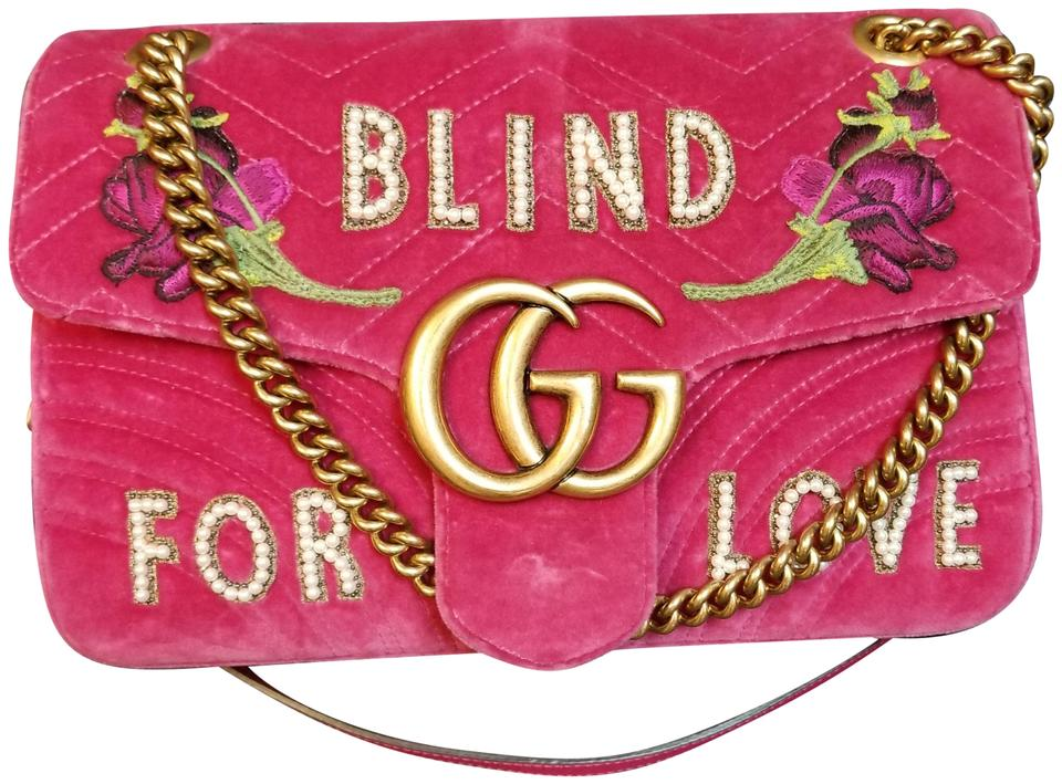 9eb4ca971e57 Gucci Marmont Medium Embroidered Blind For Love Pink Velvet Shoulder Bag