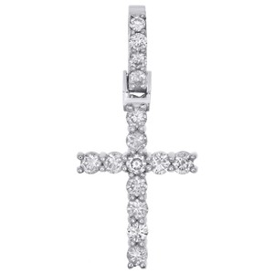 Jewelry For Less Prong Set 1 Row Solitaire Diamond Cross Pendant Unisex Charm 0.92 CT.