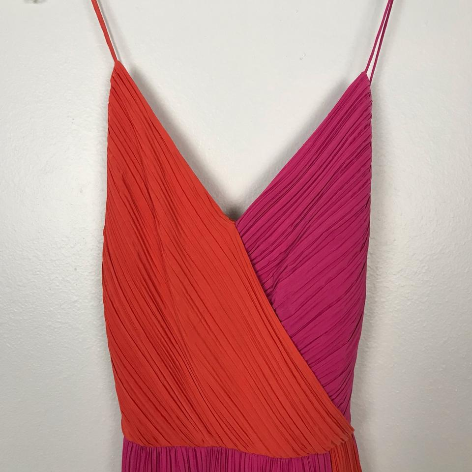 55f5082660d Phoebe Couture Pink Orange Pleated Short Cocktail Dress Size 16 (XL ...