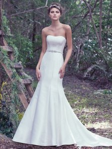 Maggie Sottero Ivory Mikado Dante By Traditional Wedding Dress Size 14 (L)