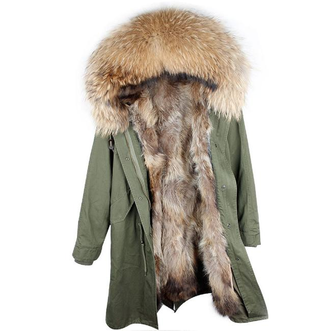 Item - Olive Green and Tan X-long Parka with Real Lining Coat Size 16 (XL, Plus 0x)