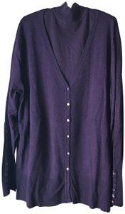 DG2 by Diane Gilman 2 Piece Turtleneck Button Accents Banding Cardigan