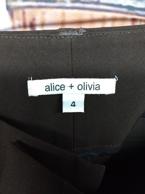 Alice + Olivia Alice+olivia Straight Pants Dark Brown Image 2