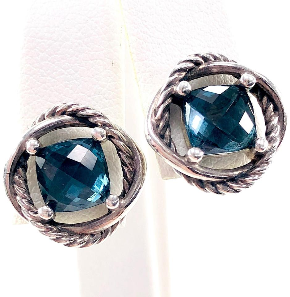 David Yurman Hampton Blue Topaz Infinity Earrings