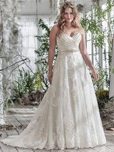 Maggie Sottero Ivory/Champagne Lace Kamiya By Traditional Wedding Dress Size 24 (Plus 2x)
