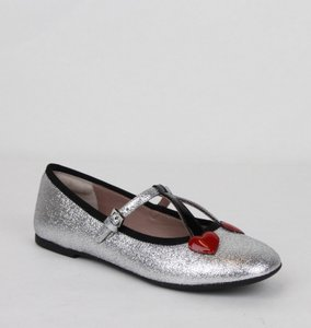 Gucci Silver Children's Shimmer Ballet Fabric Flats 31/Us 13 433120 8167 Shoes