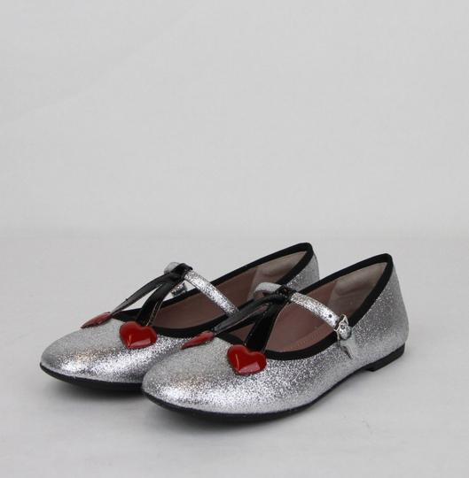 Gucci Silver Children's Shimmer Ballet Fabric Flats 31/Us 13 433120 8167 Shoes Image 1