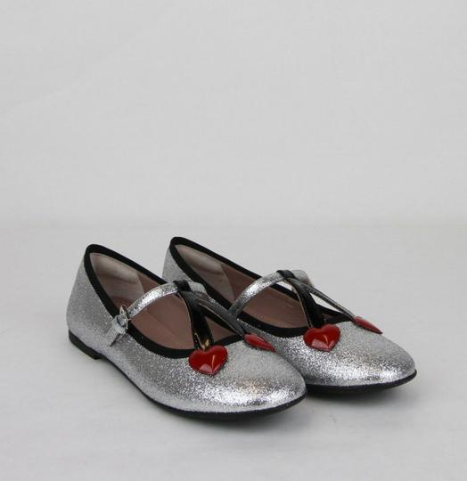 Gucci Silver Children's Shimmer Ballet Fabric Flats 31/Us 13 433120 8167 Shoes Image 3
