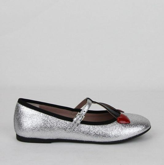 Gucci Silver Children's Shimmer Ballet Fabric Flats 31/Us 13 433120 8167 Shoes Image 5