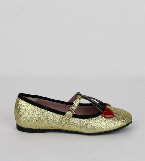 Gucci Gold W Shimmer Fabric Ballet Flats W/Cherry Hearts 29/Us 12 433120 8090 Shoes Image 5