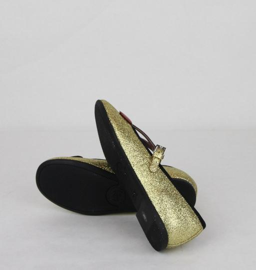 Gucci Gold W Shimmer Fabric Ballet Flats W/Cherry Hearts 29/Us 12 433120 8090 Shoes Image 7