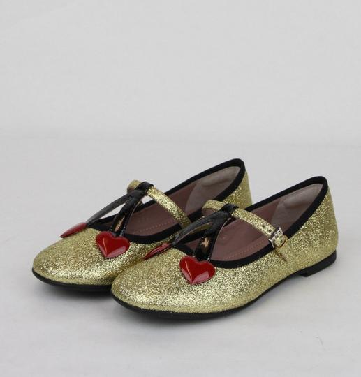 Gucci Gold W Shimmer Fabric Ballet Flats W/Cherry Hearts 31/Us 13 433120 8090 Shoes Image 1