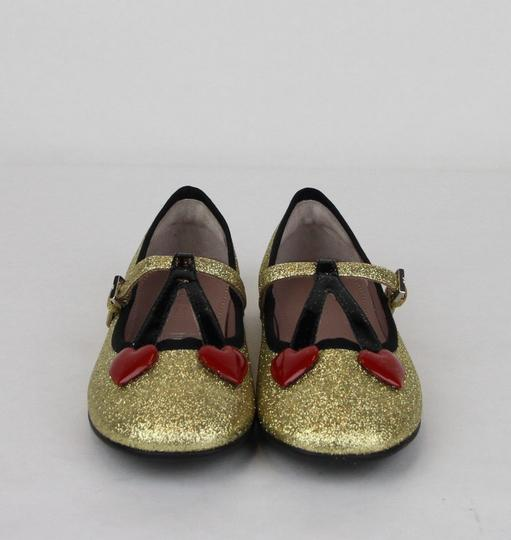 Gucci Gold W Shimmer Fabric Ballet Flats W/Cherry Hearts 31/Us 13 433120 8090 Shoes Image 2