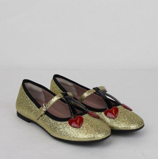 Gucci Gold W Shimmer Fabric Ballet Flats W/Cherry Hearts 31/Us 13 433120 8090 Shoes Image 3