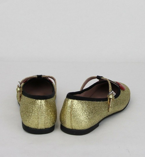 Gucci Gold W Shimmer Fabric Ballet Flats W/Cherry Hearts 31/Us 13 433120 8090 Shoes Image 4